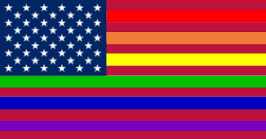 Montage drapeau américain et drapeau gay