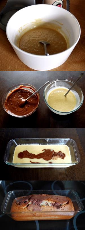 Etapes pour un gâteau marbré sans lait, sans gluten